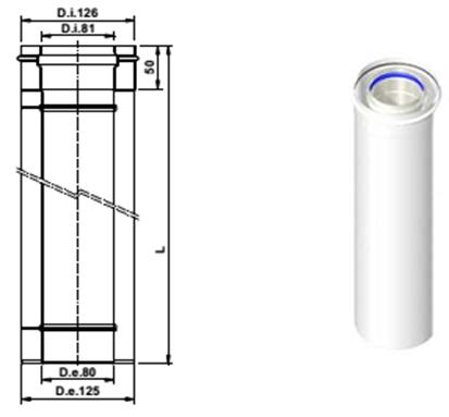 Коаксиальное удлинение дымохода 1000 мм 80/125 PP AB605
