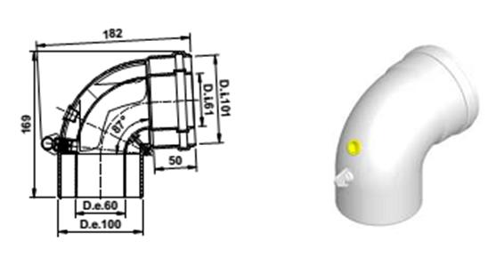 Коаксиальный угол 90 градусов 60/100 PP AB119