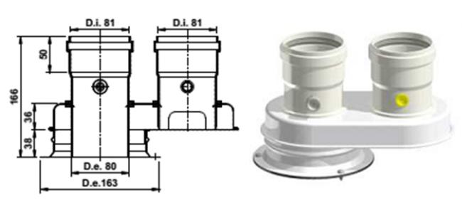 Адаптер раздельного дымоудаления 80/125-80/80 PP AB823