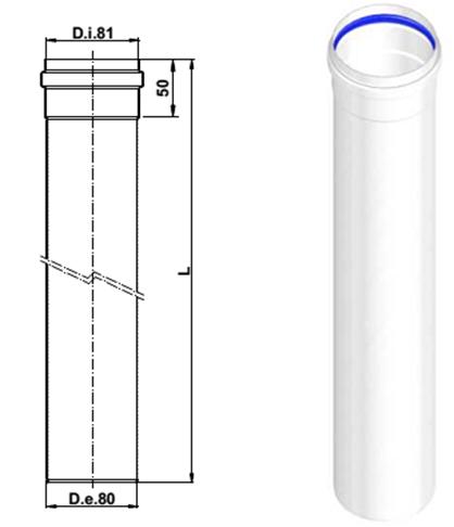 Удлинение дымохода 500 мм d80 A383