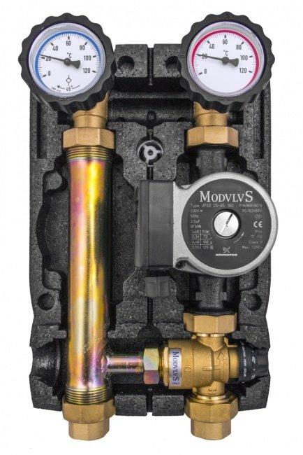 """Насосная группа BRV 1"""" 21355N-F3-G60 c термостатическим клапаном F3 (20 - 45 C) и насосом Grundfos UPSO 25-65"""
