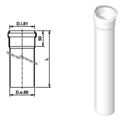 Удлинение дымохода 2000 мм d80 PP AB612