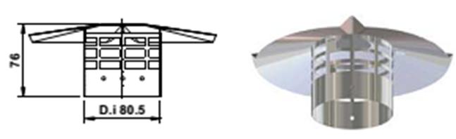 Декоративный зонтик дымохода d80 RZ80