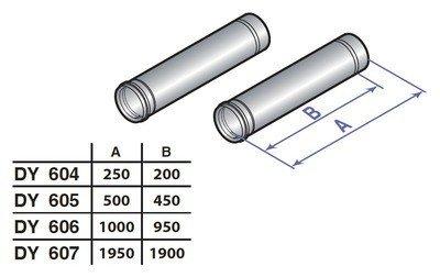 Удлинение дымохода 1000 мм d80 (2 шт.) De Dietrich (DY 606)