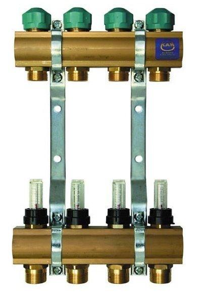 Гребёнка для тёплого пола KAN 75040A с вентилями и расходомерами