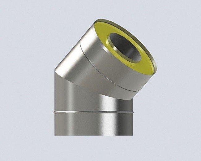 Угол 45 градусов (160/260-0.8/0.5) дымохода из нержавеющей стали