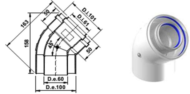 Коаксиальный угол 45 градусов 60/100 A394