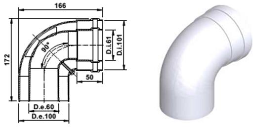 Коаксиальный угол 90 градусов 60/100 A393