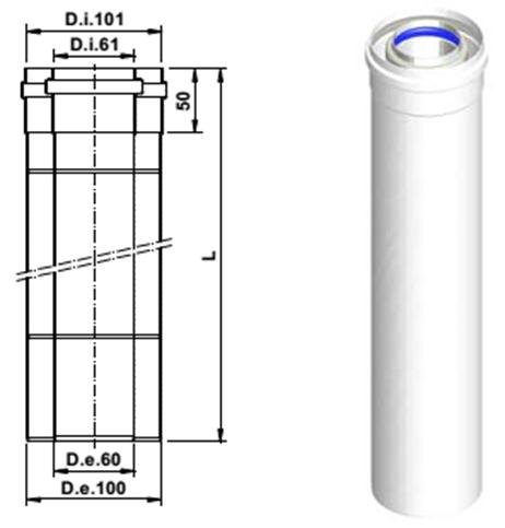 Коаксиальное удлинение дымохода 500 мм 60/100 A390