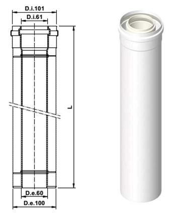 Коаксиальное удлинение дымохода 500 мм 60/100 PP AB110